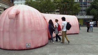 Погружение в себя: в столице Уругвая появилась гигантская толстая кишка