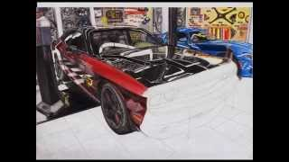 Dodge Challenger drawing 30 hours in 22 seconds