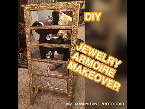 GOODWILL FURNITURE MAKEOVER / GOLD MIRRORED JEWELRY ARMOIRE/DIY ROOM DECOR 2018