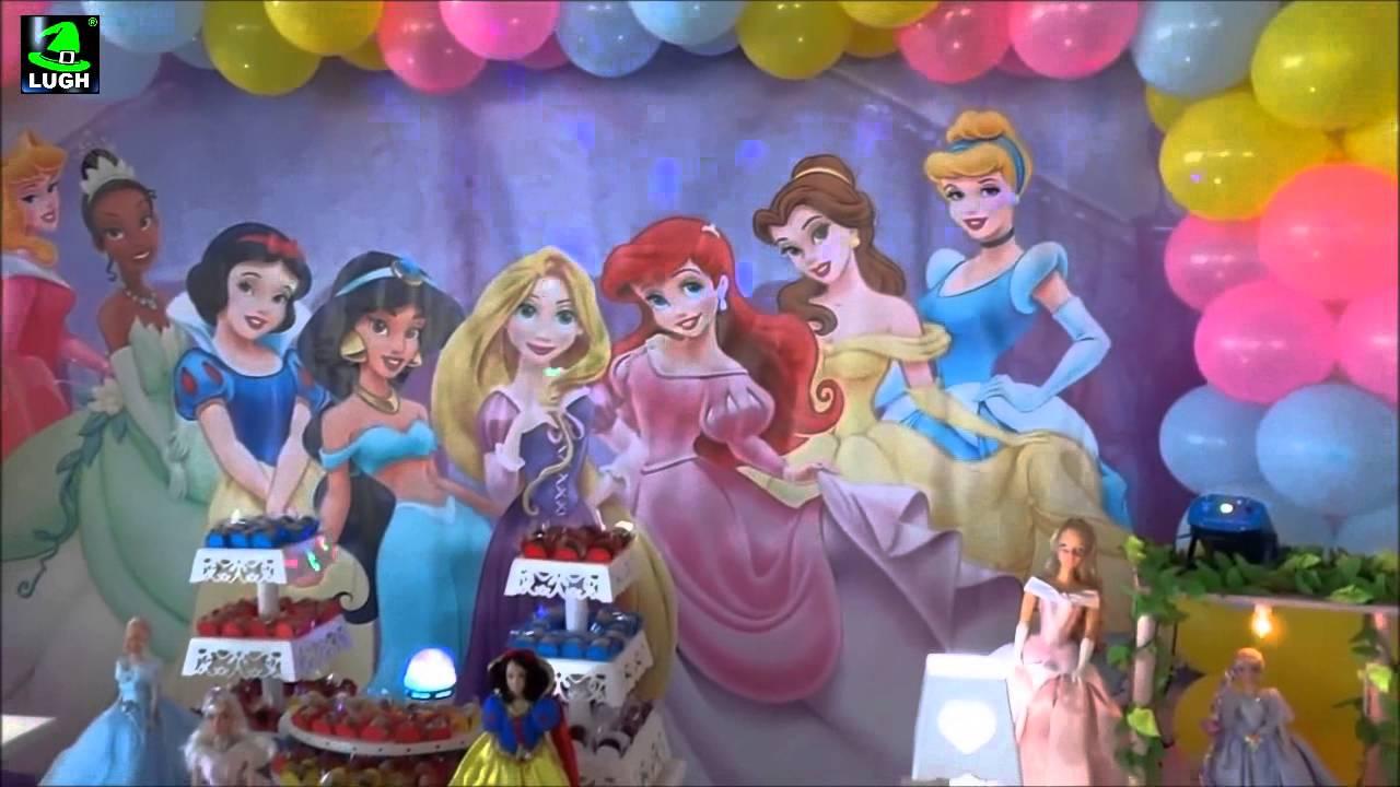 Tema Princesas Disney Decoraç u00e3o para festa de aniversário infantil YouTube -> Decoração De Festa Das Princesas Da Disney