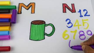 Drawing Alphabets | Learning Colors and Coloring a Mug and Numbers  for Kids