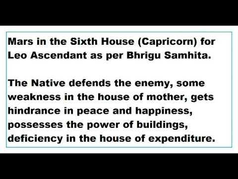 Mars in 6th House for Leo Ascendant as per Bhrigu Samhita