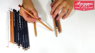 Карандаши для рисунка сепия, сангина, угольные, неро и белые меловые