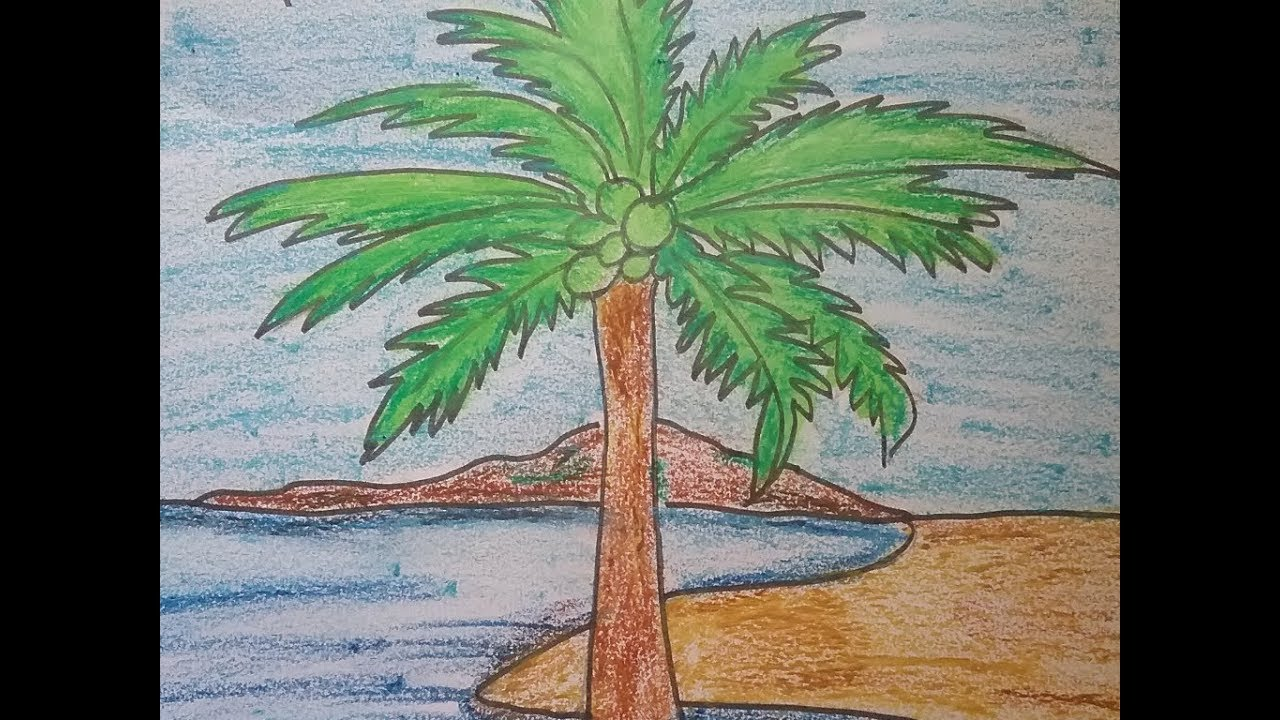 How to draw a landscape scenery of coconut palm tree and Sea beach ...