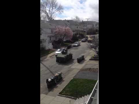 Armored Convoy Moving Through Watertown, MA
