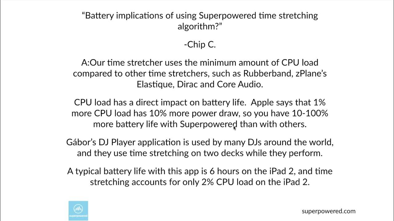 iOS and Android Time-stretching, pitch-shifting audio algorithms  implications on power consumption?