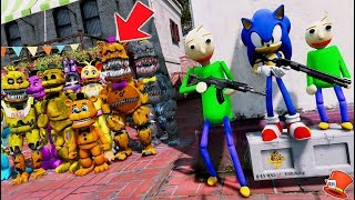 Can Baldi & Sonic the Hedgehog Hide from the Animatronics? (GTA 5 Mods For Kids FNAF RedHatte)