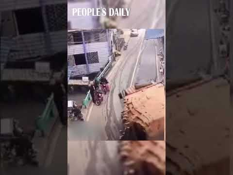 Truck loaded with bricks went out of control and rolled over