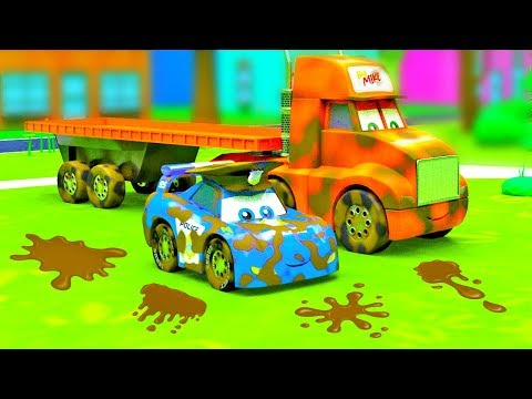 City of Little Cars - Big Truck in the Mud, Cars on Dirt and Magic Car Wash |