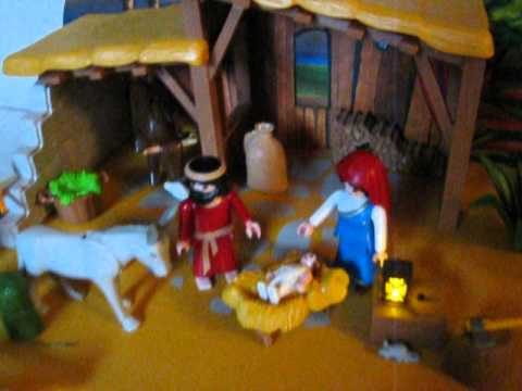 Playmobil nativity manger with stable youtube for Salle a manger playmobil