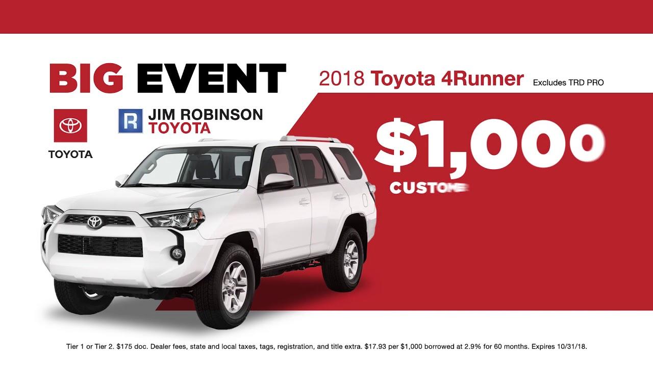 Jim Robinson Toyota >> Jim Robinson Toyota October Promo 2 Youtube