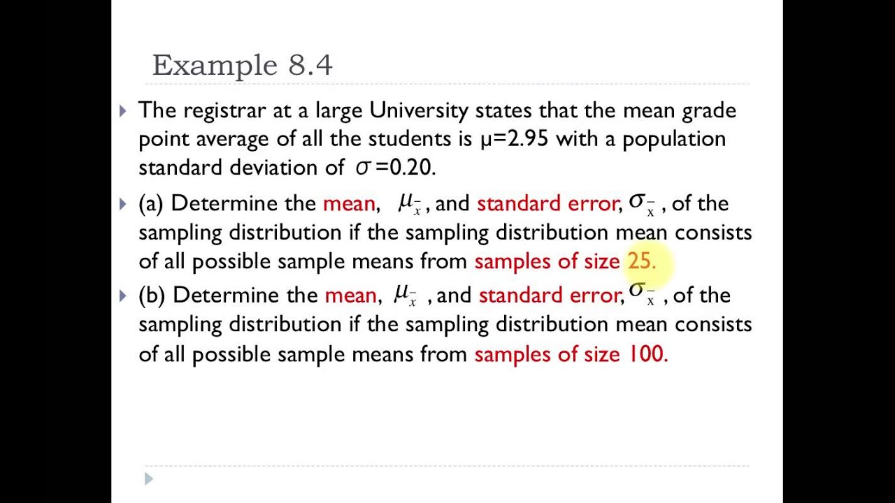 05 Examples Finding Mean And Standard Error Of Sampling