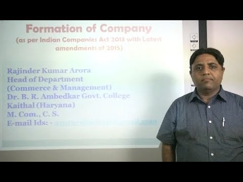 Formation of Company in Hindi as per Indian Companies Act 2013 under E-Learning Program