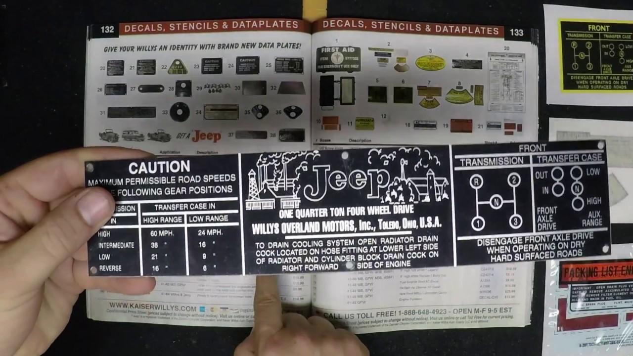 Data plates decals stencils kaiser willys jeep parts