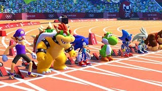 Mario & Sonic at the Olympic Games Tokyo 2020 - All Characters 100m Gameplay