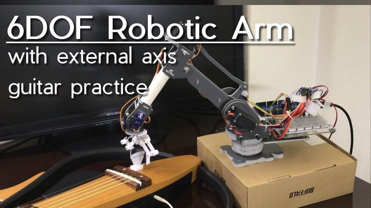 Sainsmart 6DOF Robot Arm with External axis - Play Guitar // Arduino