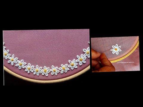 Boat Neck | Hand embroidery stitch on churidar / Kurti - DIY - decorative stitches