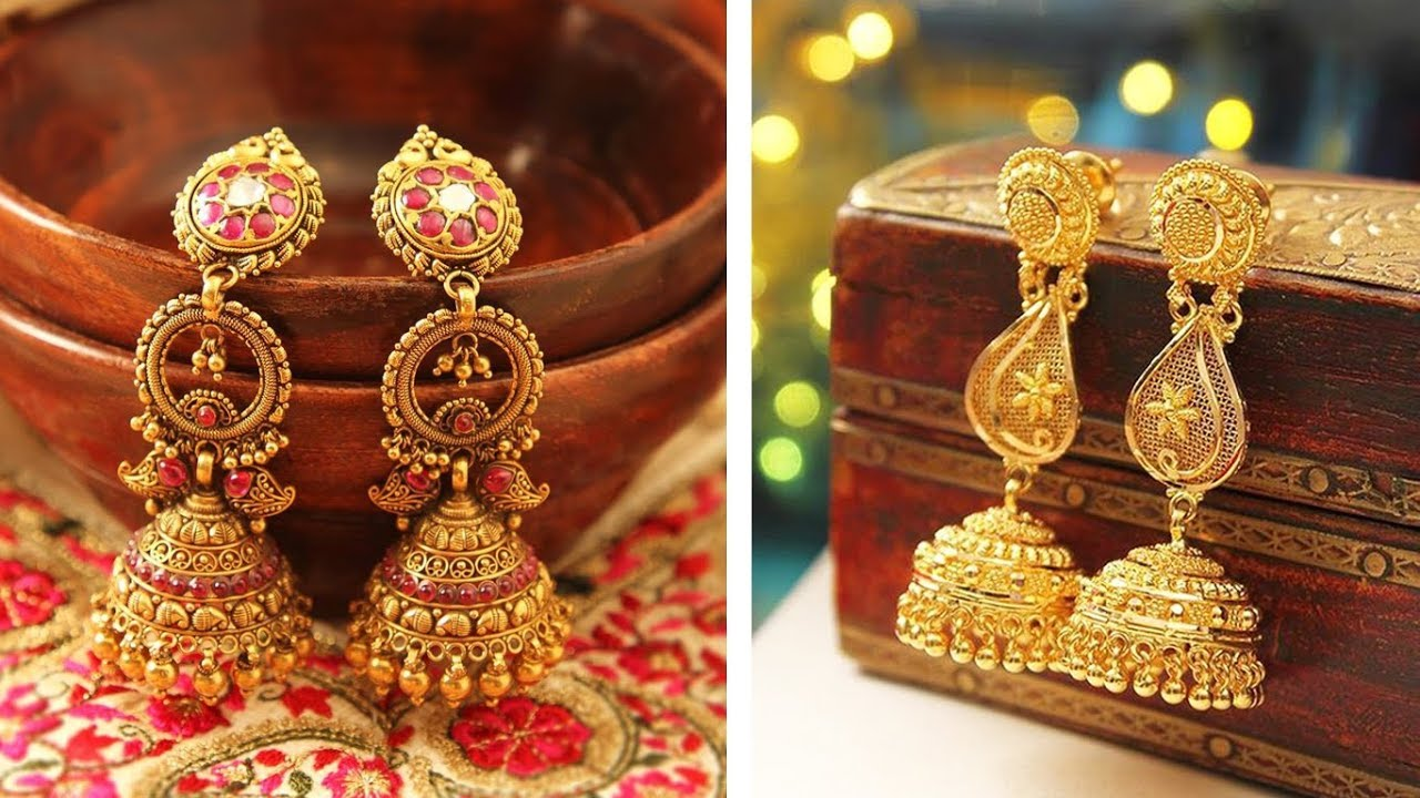 Latest Gold Earrings Designs & Jhumka Designs