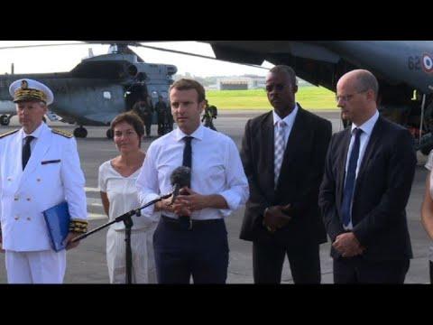 French President Macron visits hurricane-hit Caribbean