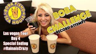 Boba Fiend Tea Shop Boba Eating Challenge | Las Vegas Day 4 Special Ending | RainaisCrazy