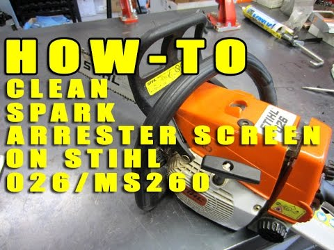 how to clean spark arrester screen on stihl 026 ms260 chainsaw youtube. Black Bedroom Furniture Sets. Home Design Ideas