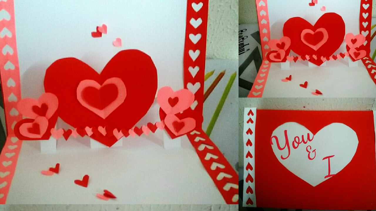 diy simple 3d heart pop up card youtube