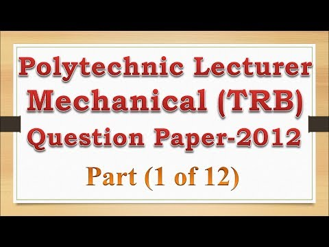 TRB Polytechnic Lecturer Exam Question Paper 2012 Mechanical (1 of 12)