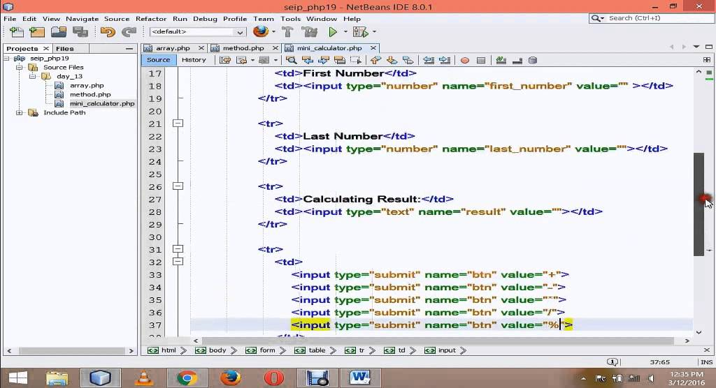 how to make a simple calculator with php function