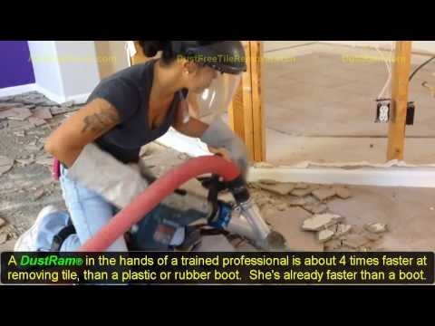 95 Pound Girl Uses Dust Free Tile Removal Equipment Using the DustRam®