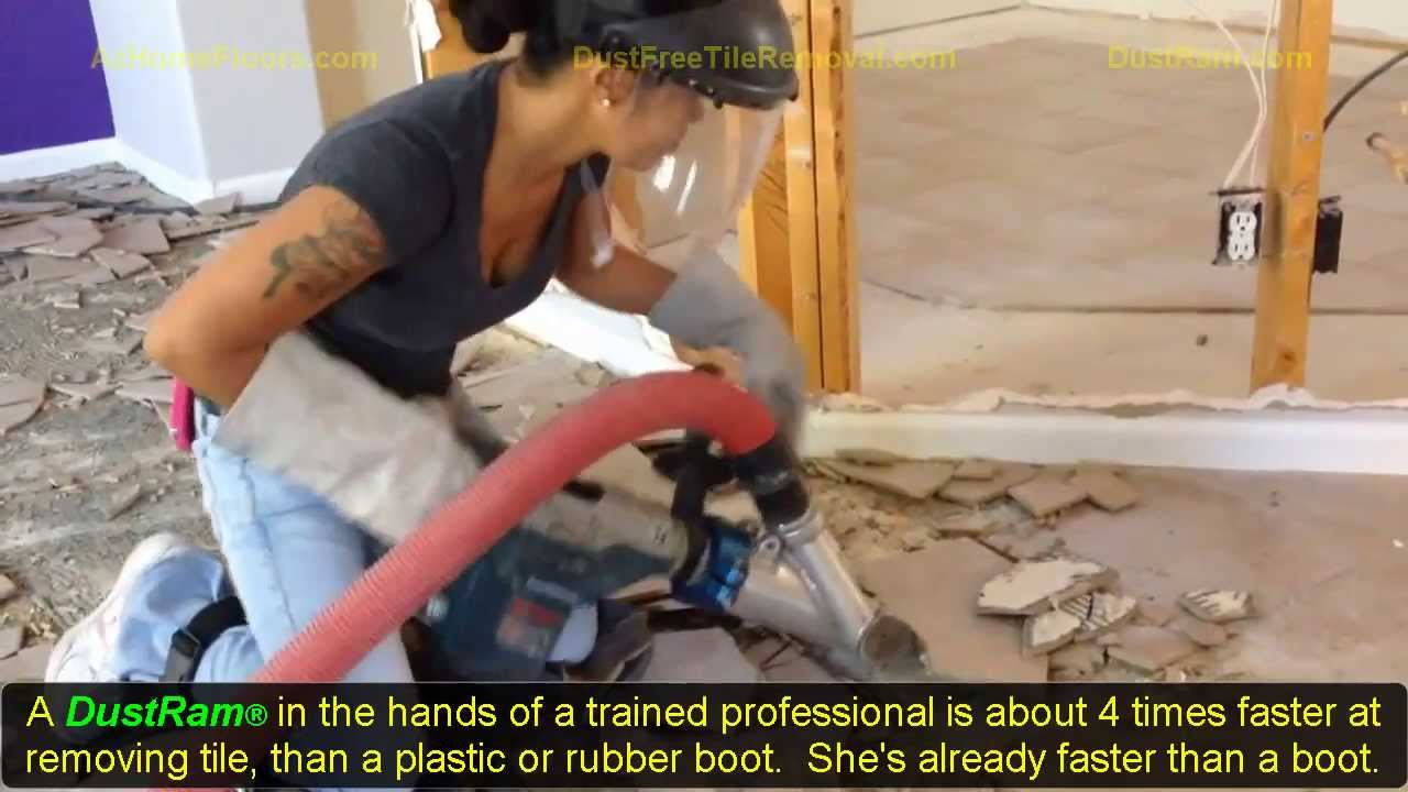 95 pound girl uses dust free tile removal equipment using the dustram