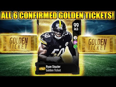 ALL 6 CONFIRMED GOLDEN TICKETS! SHAZIER KAEPERNICK, AND MORE!   MADDEN 18 ULTIMATE TEAM