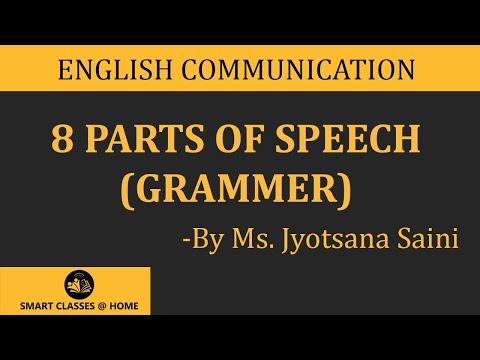 8 Parts Of Speech Grammar Lecture Ba Ma By Jyotsna Saini Youtube