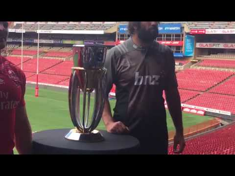 Lions v Crusaders: Captains with trophy