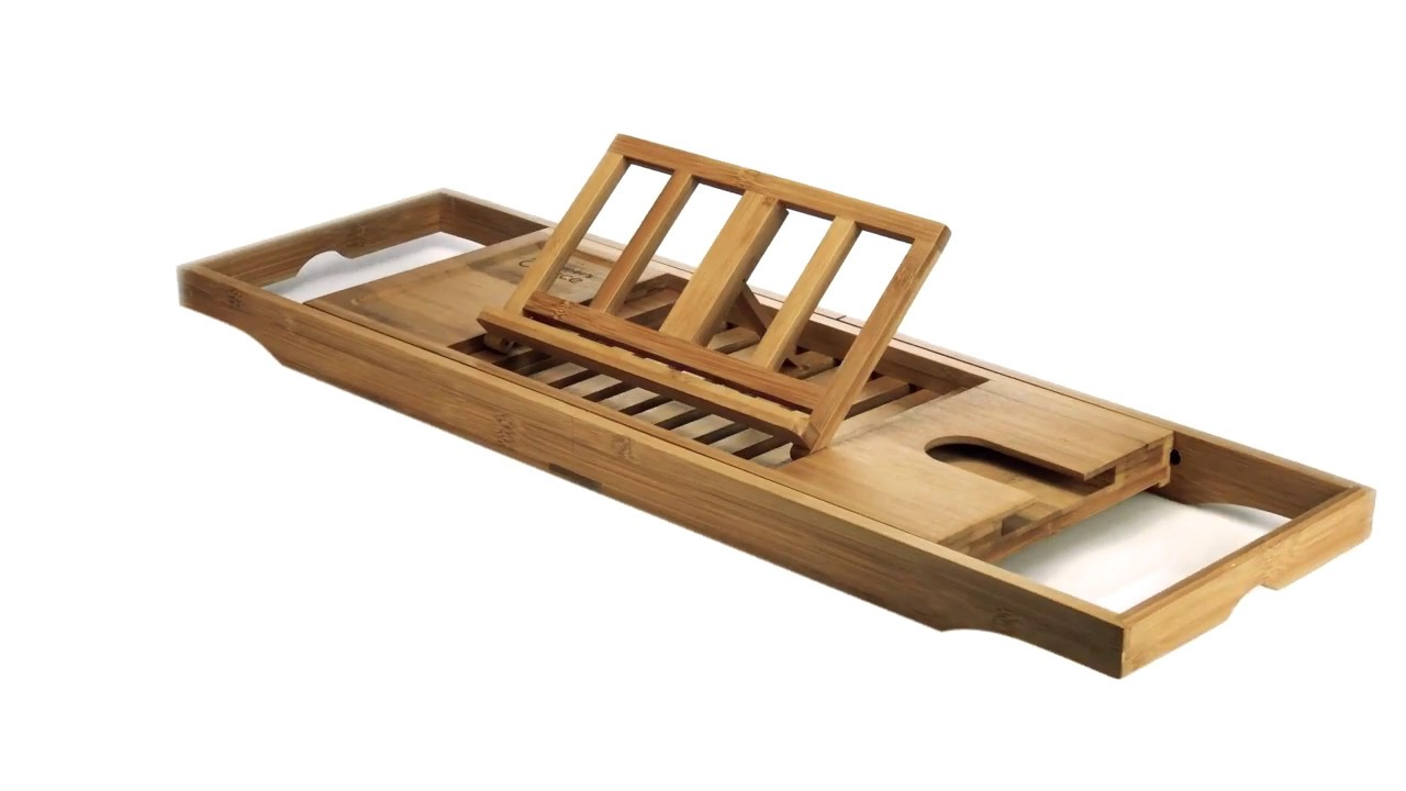 Natural Bamboo Bathtub Caddy Tray Organizer With Wine Glass Holder ...