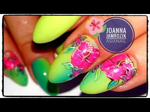 Pionowe OMBRE 🌺 Egzotyczne kwiaty 🌺 Viera Nails ❤ || AsiaNail