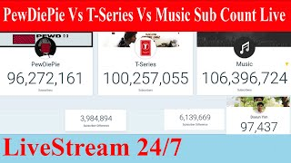 Top 100 youtubers live sub count - Pewdiepie vs T Series & more 98 Channels in World