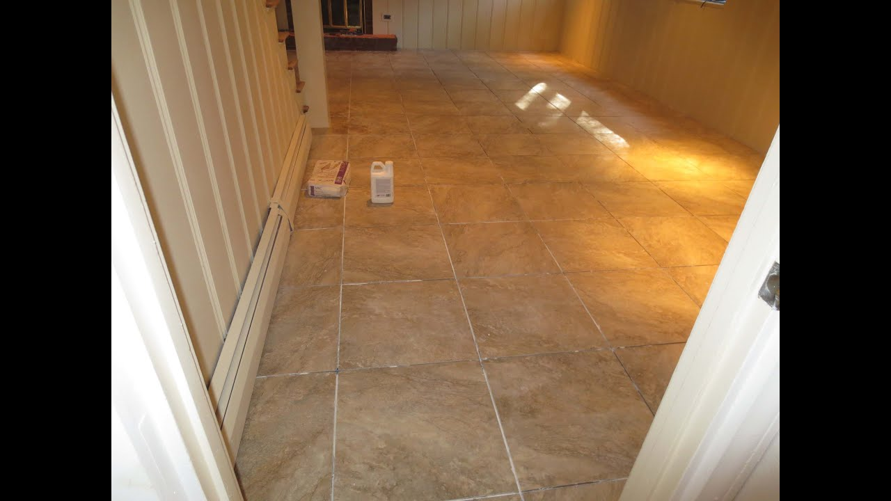 How to tile a large basement floor Part 3 Grout and caulk ...