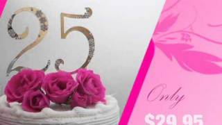 Crystal Flower Cake Numbers 0-9 In Gold Or Silver