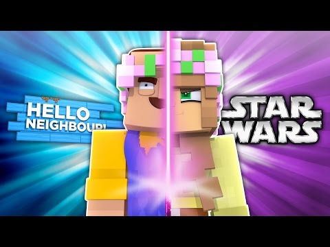 HELLO NEIGHBOUR VS STAR WARS! Minecraft Little Kelly w/LittleLizard