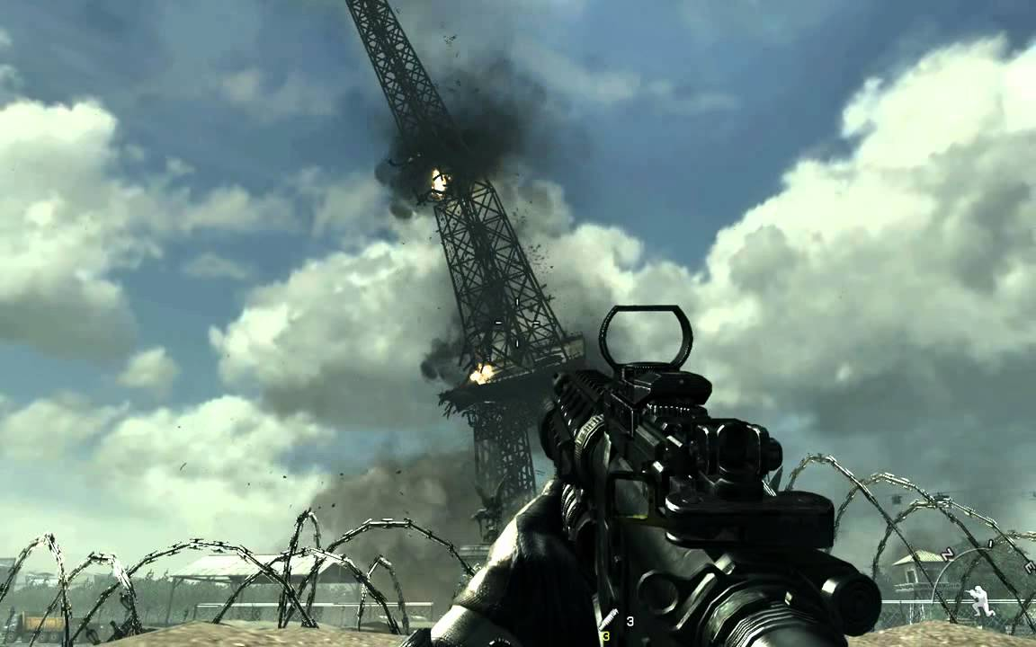 Paris In The Fall Wallpaper Cod Mw3 Eiffel Tower Collapse Youtube