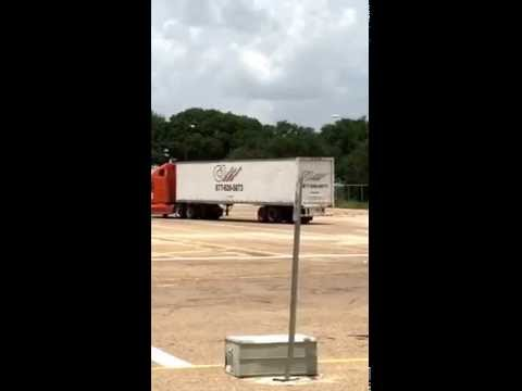 Straight line backing a tractor trailer
