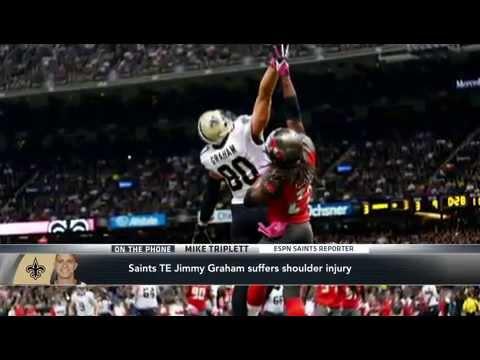 Jimmy Graham Suffers Shoulder Injury in Bucs vs Saints game