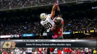 Jimmy Graham Suffers Shoulder Injury in Bucs vs Saints game