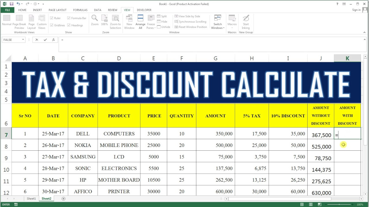 How To Calculate Tax & Discount In Excel  20