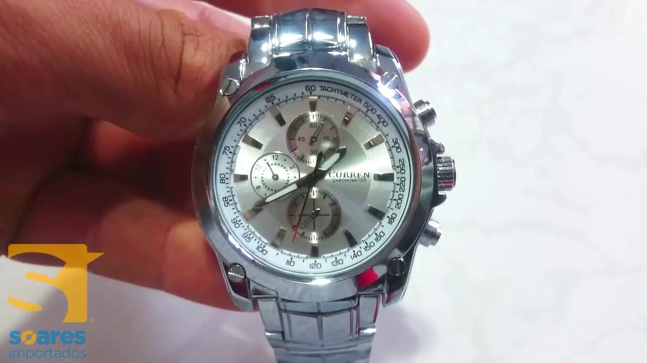 9e2b3cd391a Relógio Curren Aço Inox Masculino a Prova d água Original ! - YouTube