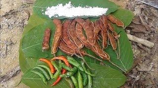 imli,, green chili,, salt,, bamboo tube // TIPRASA RECIPE