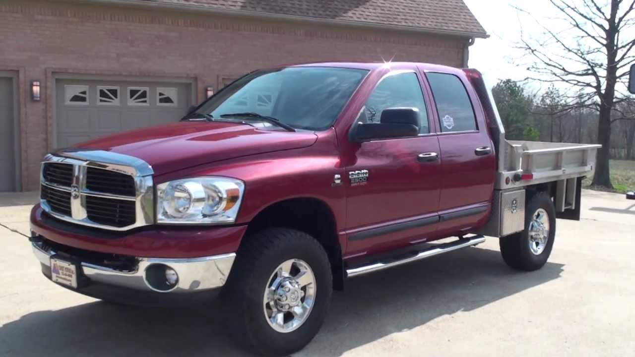 Hd Video 2007 Dodge Ram 2500 Slt 4x4 Crew Cab Flat Bed Diesel For