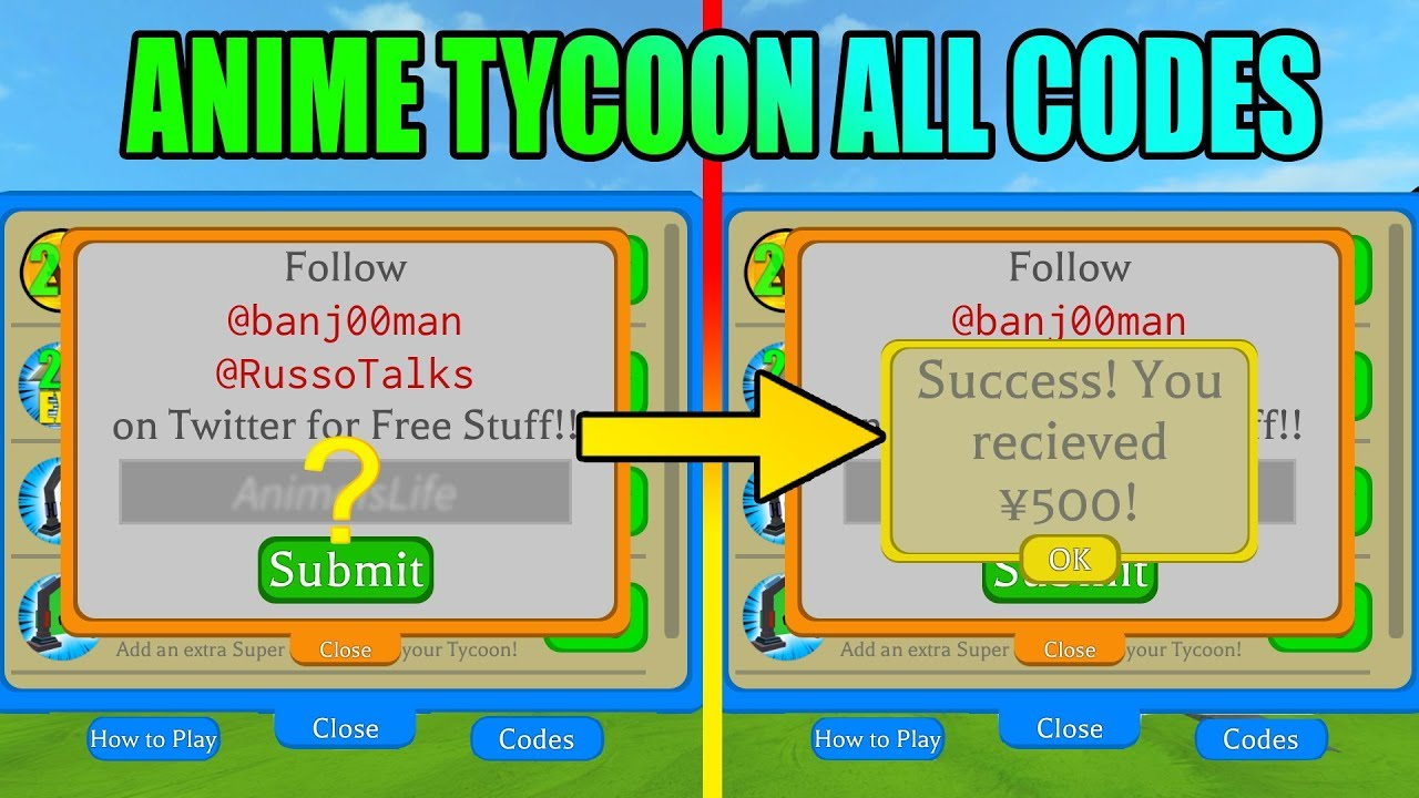 All Codes Anime Tycoon Roblox Youtube