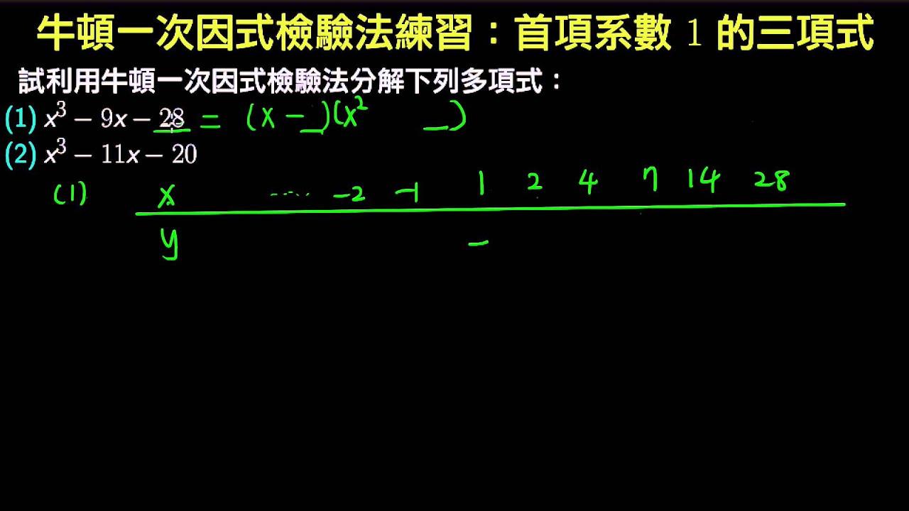 牛頓一次因式檢驗法練習:首項系數為1的三項式 - YouTube