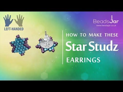 Left-handed ★ How to make this Star Studz earrings | Miyuki Delica Seed beads design